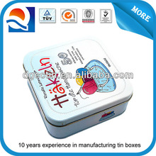 Factory direct nice square tin box, small square cookie tin box