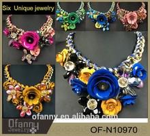 2015 Fashion flower wholesale Statement unique jewelry
