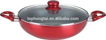 Pressed Aluminium non-stick coating wok with lid
