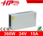 Hot selling SMPS 24v rainproof high efficiency constant voltage 15a 360w 24v power supply 24v