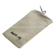logo tailor-make light gray velvet drawstring pouch