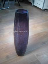 40CM CRACKLE GLASS BULLET VASE PURPLE