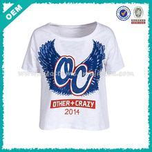 Women Loose Design Factory Custom Scoop Neck T shirt printing (lyt010005)