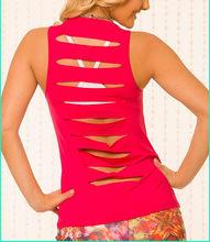 Atacado de fitness yoga vermelho regatas moda roupas de treino das mulheres