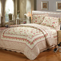 Cotton Queen Size Printed Floral Bed Cover