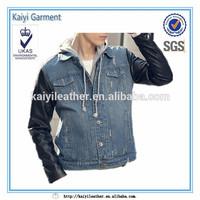 Wholesale denim jacket leather sleeves for men