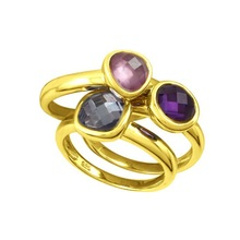 china factory gemstones bezel setting include pink stone and topaz gold jewelry, gold plated jewelry wholesale