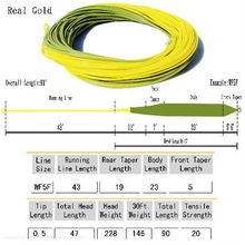 2014 Real gold fly fishing line silk fly lines