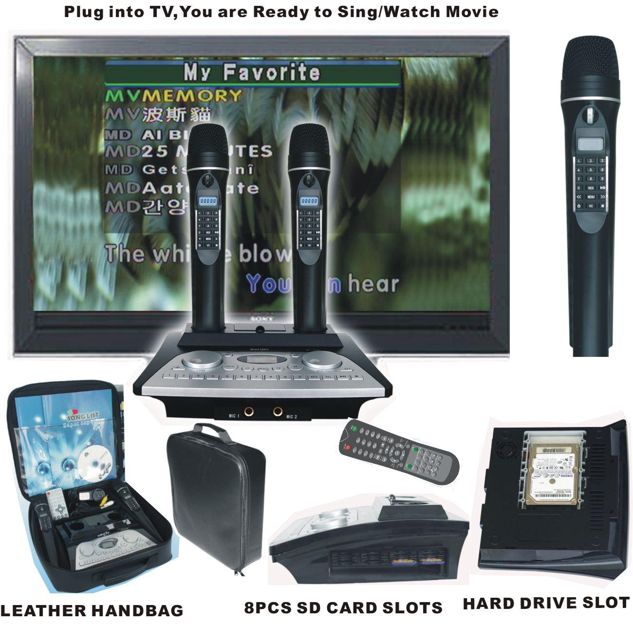 "2.5"" Hard Drive karaoke Player+Wireless Digit Mic with vocal on/off+4pcs SD card slots(KOD-100+MK+100)"