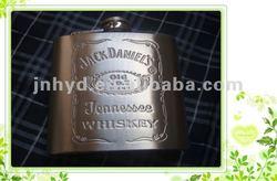 6oz jack daniels embossing stainless steel hip flask