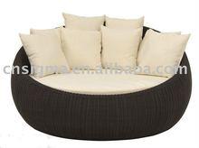 2014 Hot sale elegant brown rattan outdoor round bed