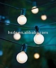 20 Foot Outdoor Patio String Lights - Set of 20 G40 White Pearl Bulbs with White Cord