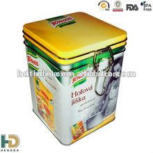 bulk tea tin canister metal storage box with metal clip closing lid