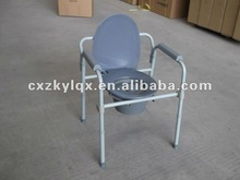 Steel Folding adjutable commode,quick release backrest toilet bowl