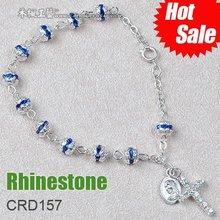 2012 fashion 6mm rhinestone religious rosary bracelet