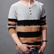 short sleeves cotton o-neck striped man t shirt