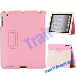 Soft Cover Premium Slim Leather Case for iPad 2/the New iPad with Flip Stand