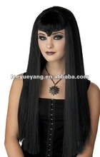 2014 fashionable long black synthetic straight lace front party halloween wig