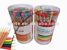 2014 new design nature color wooden logo pen for student or office