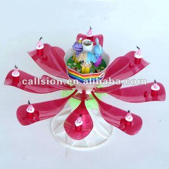 Flameless doll dancing music flower candles