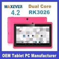 De bajo coste tablet pc q88 rk3026 de doble núcleo 1.2 7 ghz pantalla pulgadas tablet pc androide 4.2