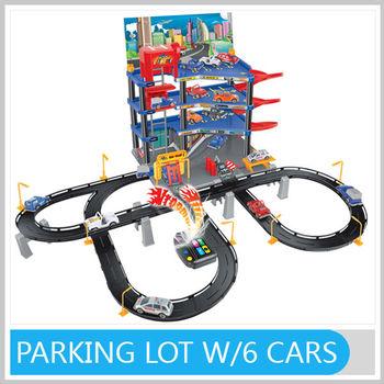Kids Station Toys DIY Parking Lot W/6 Plastic Cars & Vehicle Sounds