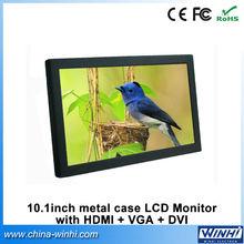 10inch full new screen grade A portable tft lcd monitor with DVI HDMI VGA