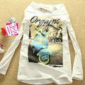 2015 nuevo diseño coreano camiseta de moda estilo de la calle de estilo coreano de manga larga camisetas para mujeres