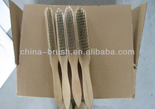 wooden handle steel/brass/coopered steel/stainless wire brush