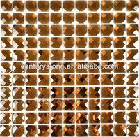 Thirteen facets gold mirror crystal diamond glass mosaic tile