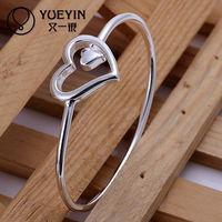2013 hot sale heart design silver bangle,fashion jewelry,hot sale 925 silver jewelry cheap heart silver bangle B018