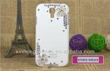 Diamond flower crystal hard cell phone case for samsung galaxy s4 siv i9500