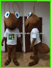 Caliente de la venta brown ant traje de la mascota inwhite camisa de material de la felpa del traje para adultos
