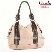 Comely handbag 2015 beige hobo new design tassel bag boho bag ladies purse