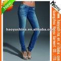 ファッションの新しいデザイン最高品質の女性がスキニーブルーデニムジーンズ( hy5649)