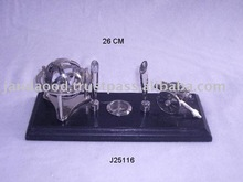 Nickel plated Pen Stand made in Brass and wood with nautical themes