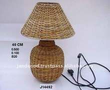 Bamboo weaving on Iron Base Lamp with Shade and electric fitting