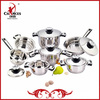 12Pcs No Magnetic Stainless Steel Cookware Set With Thermometer Knob
