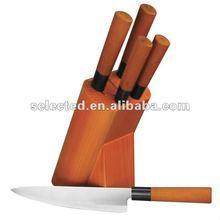 Japanese style 5pcs kitchen knife set with rubber wood block
