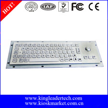 Small-size waterproof rugged vandal-proof metal kiosk industrial keyboard with optical trackball