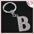 la promoción de encargo de aleación de zinc de cristal de la letra b del alfabeto llavero llave anillo