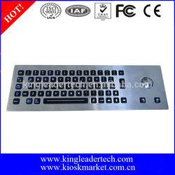 Rugged LED backlit metal industrial kiosk keyboard with trackball