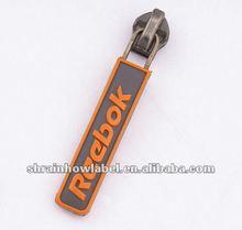 Custom name brand garment soft rubber zipper pullers