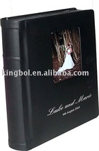 leather cover flush mount album with cameo and imprinting for wedding photo