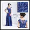 8036 manga curta bordado nova moda chiffon maxi laço azul vestido de noite para as mulheres da mãe do vestido da noiva