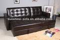 De color marrón de cuero seccional sofá de la esquina de la cama/esquina sofá cama