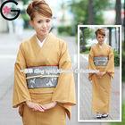 Fu-ka Japanese Ethnic Clothing Washable Traditional Dress Unlined Plain Beige Kimono