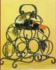 antique wrought iron handicrafts holds 6 bottles carrier holder caddy wine rack