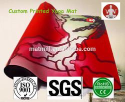 Custom photographic,vector diagram CMYK full color printed yoga mat,custom printed natural rubber yoga mat