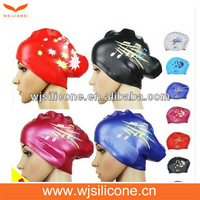 Printing College Silicone Swimming Cap for Long Hairs